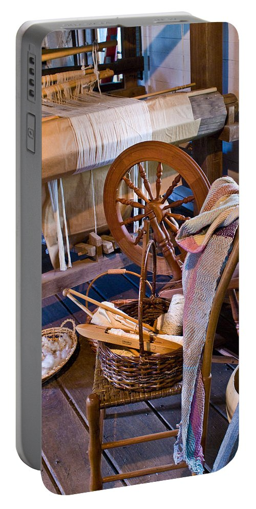Spinning Portable Battery Charger featuring the photograph Spinning and Weaving by Douglas Barnett