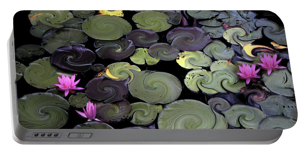 Lily Portable Battery Charger featuring the photograph Spinning Lilies by Wayne King