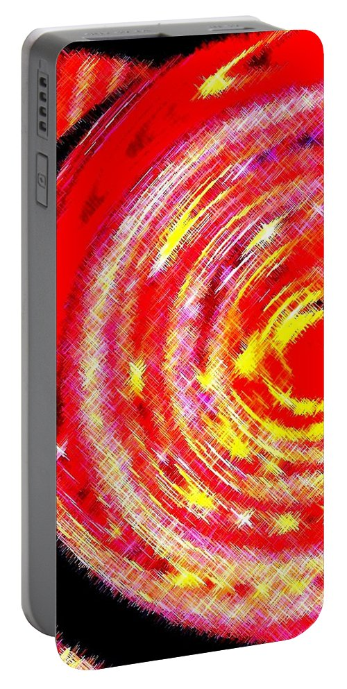 Abstract Portable Battery Charger featuring the digital art Spinoff by Will Borden