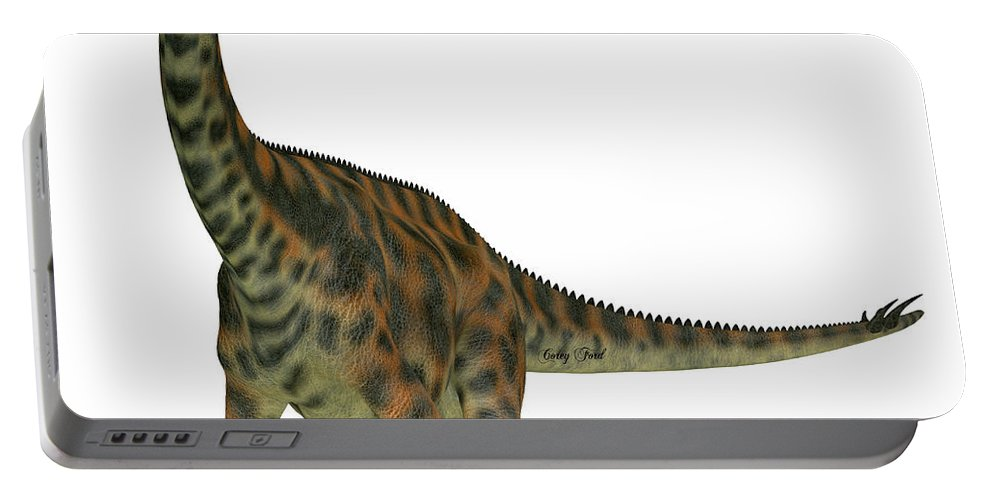 Spinophorosaurus Portable Battery Charger featuring the painting Spinophorosaurus On White by Corey Ford