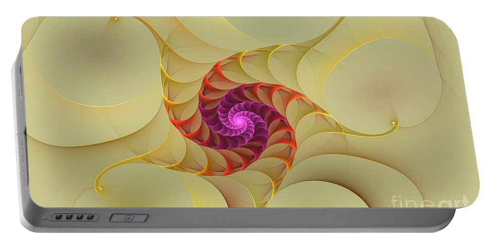 Digital Portable Battery Charger featuring the digital art Spiral Rainbow Of Color by Deborah Benoit