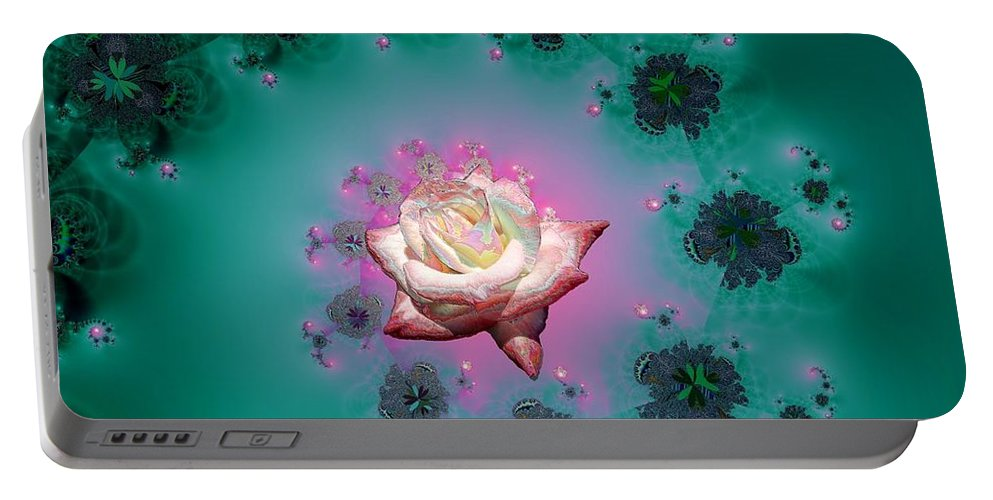 Spiral To A Rose Fractal Portable Battery Charger featuring the mixed media Spiral To A Rose Fractal 140 by Rose Santuci-Sofranko