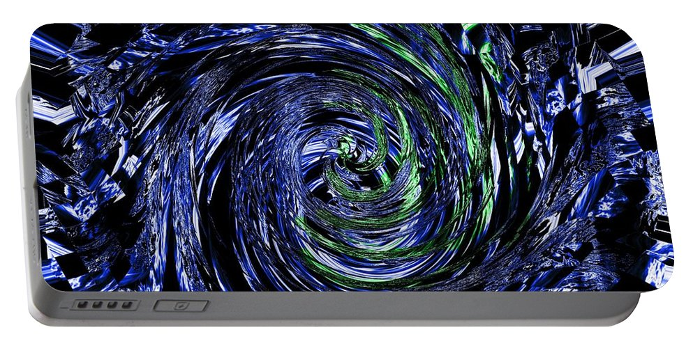 Blue Portable Battery Charger featuring the digital art Spiral Vision by Charleen Treasures