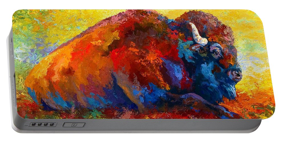 Wildlife Portable Battery Charger featuring the painting Spirit Brother by Marion Rose