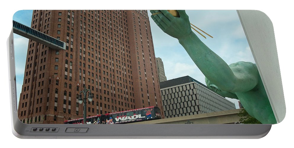 Spirit Of Detroit Portable Battery Charger featuring the photograph Spirit Of Detroit And People Mover by Steven Dunn
