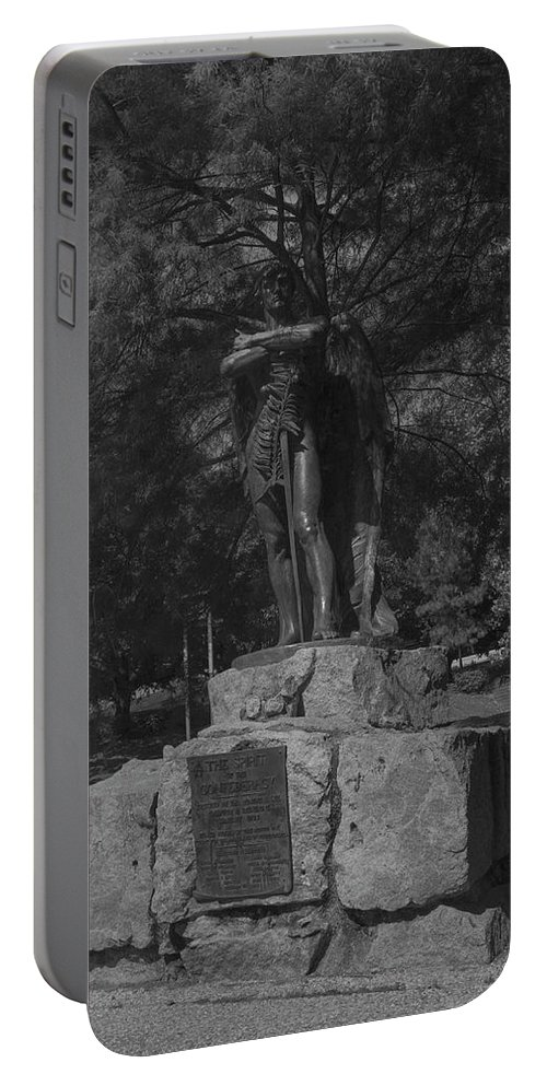 Houston Portable Battery Charger featuring the photograph Spirit Of The Confederacy Black And White by Joshua House