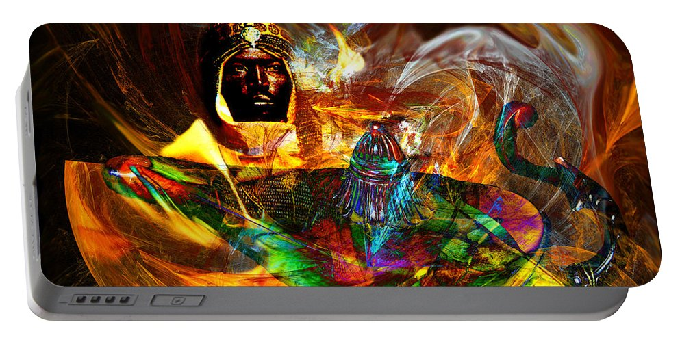 Aladdin Portable Battery Charger featuring the digital art Spirit Of The Lamp by Lisa Yount