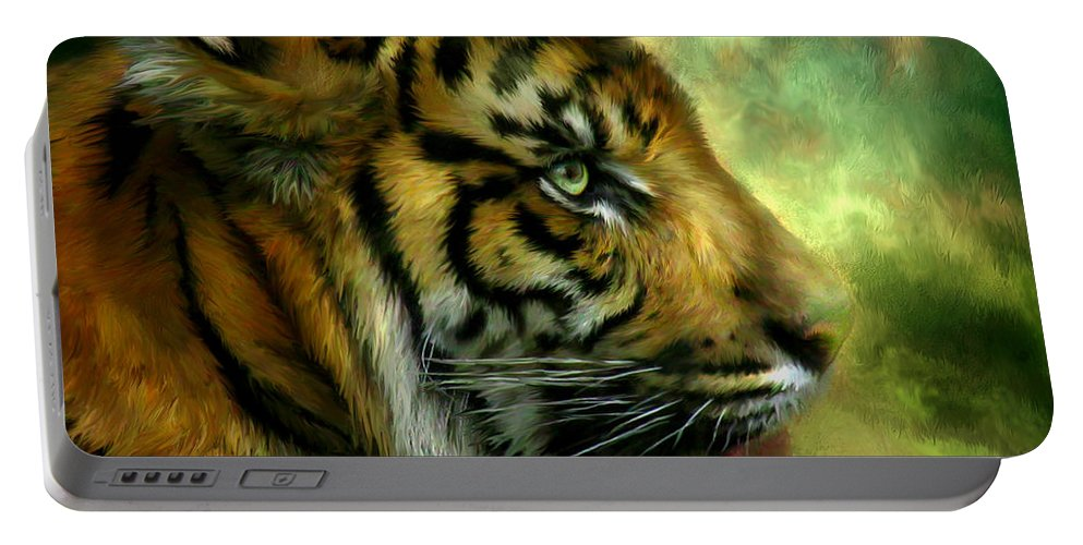 Tiger Portable Battery Charger featuring the mixed media Spirit Of The Tiger by Carol Cavalaris