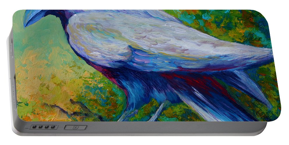 Crows Portable Battery Charger featuring the painting Spirit Raven by Marion Rose