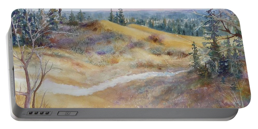 Landscape Portable Battery Charger featuring the painting Spirit Sands by Ruth Kamenev