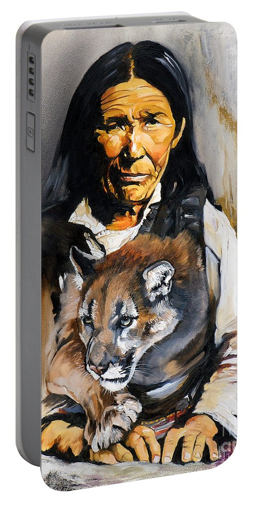 Spiritual Portable Battery Charger featuring the painting Spirit Within by J W Baker