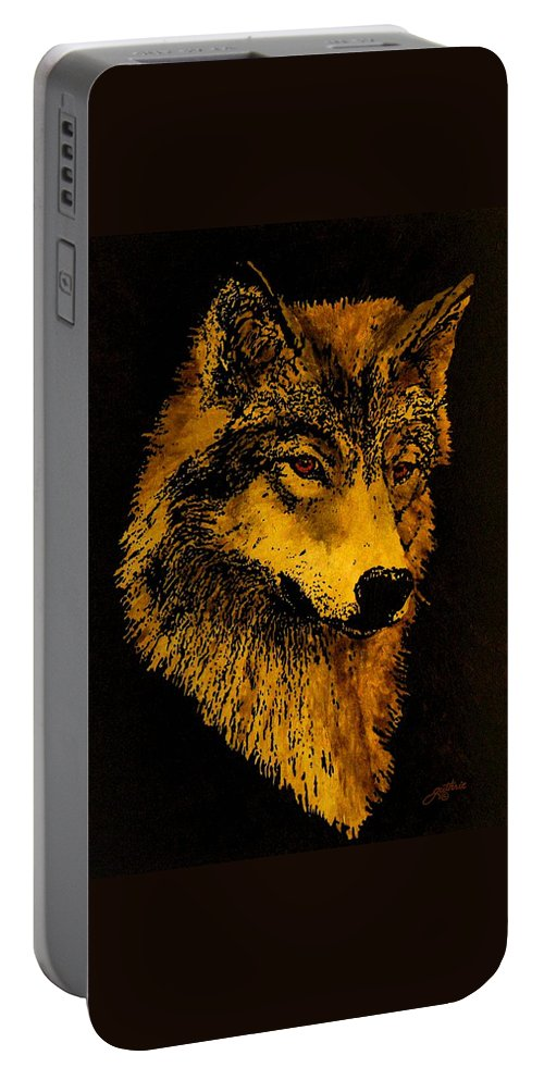 Wolf Portable Battery Charger featuring the painting Spirit Wolf by John Guthrie