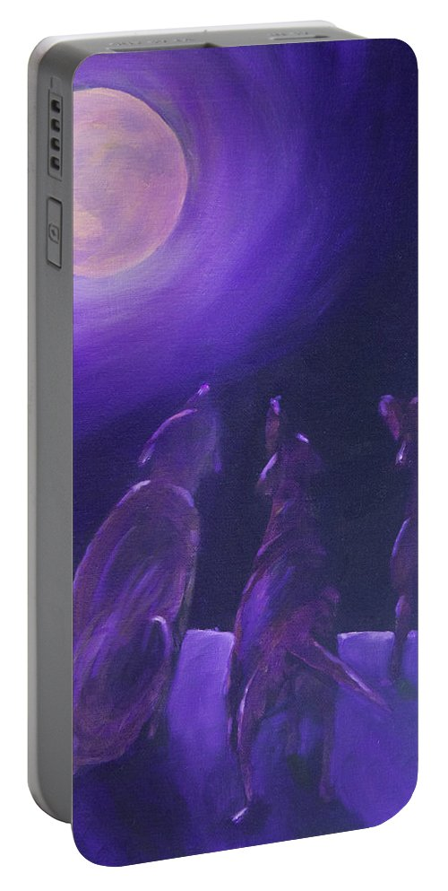 Labrador Retriever Portable Battery Charger featuring the painting Spirits In The Night by Roger Wedegis