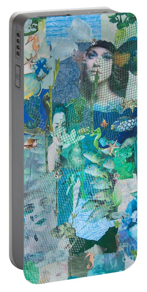 Sea Portable Battery Charger featuring the mixed media Spirits Of The Sea by Sandy McIntire