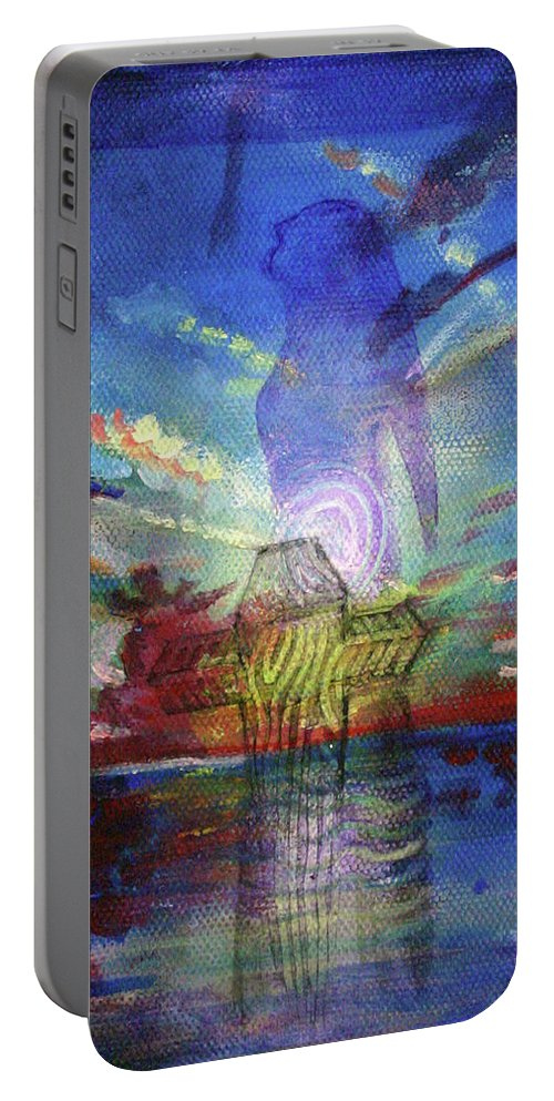 Drawing Portable Battery Charger featuring the painting Spiritual Rising At Sunset by Gideon Cohn