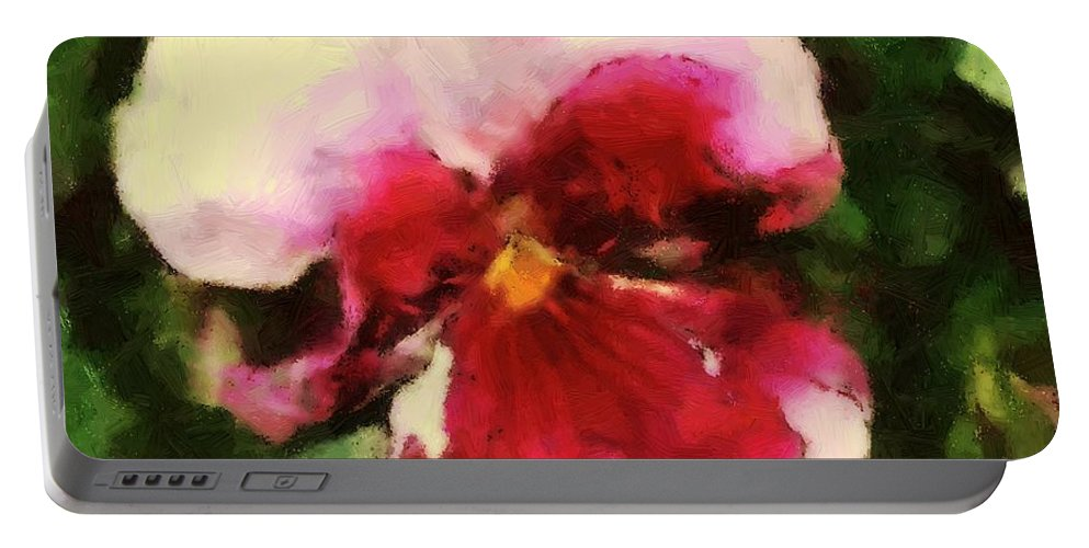 Lower Portable Battery Charger featuring the painting Splash Cerise by RC DeWinter