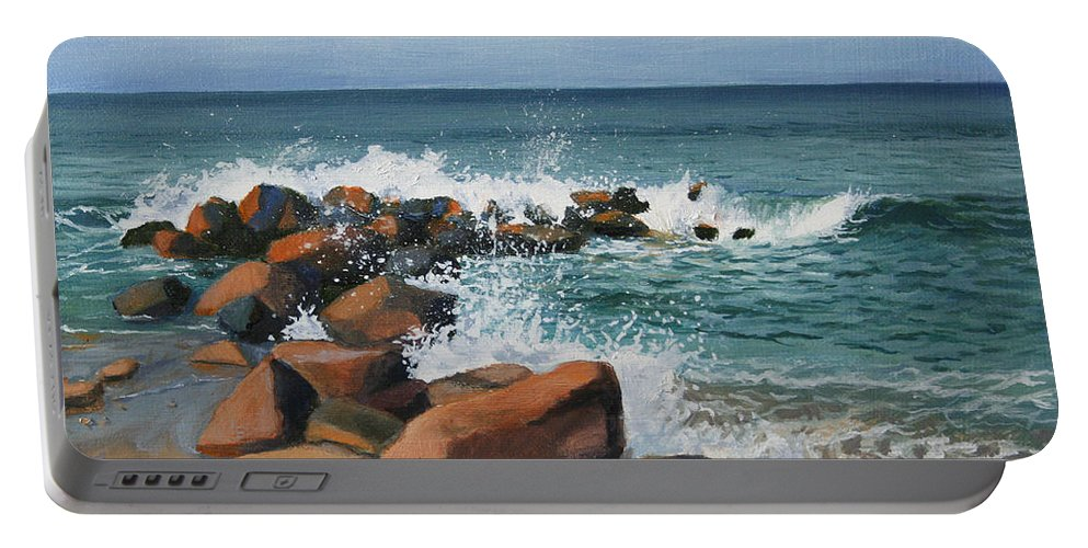 Seascape Portable Battery Charger featuring the painting Splash by Paul Walsh