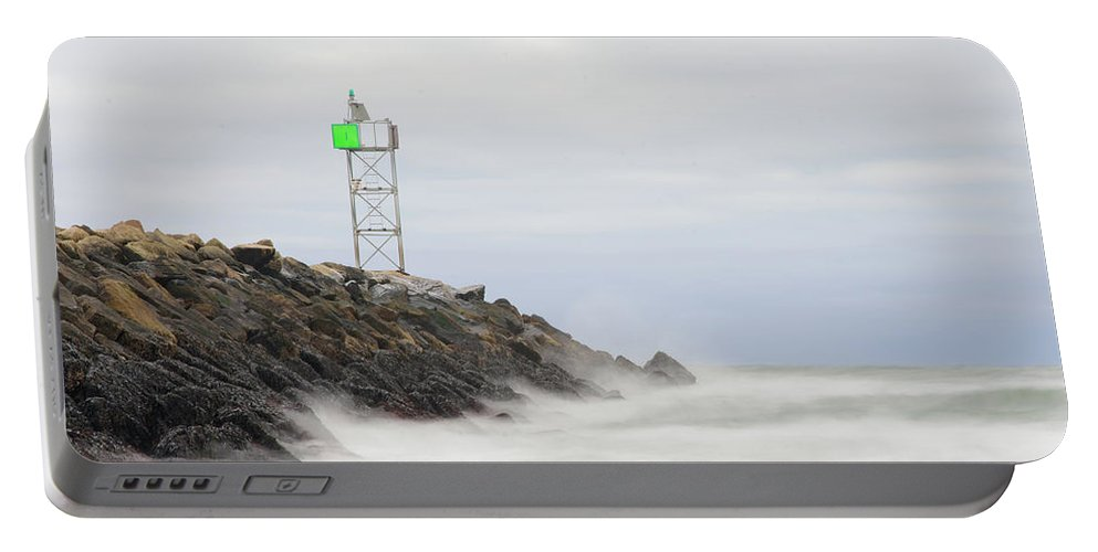 Cloudy Portable Battery Charger featuring the photograph Splashing Jetty Waves by Justin Mountain