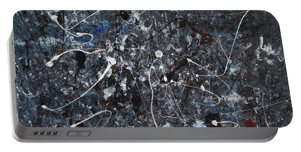 Splatter Portable Battery Charger featuring the painting Splattered - Grey by Jacqueline Athmann