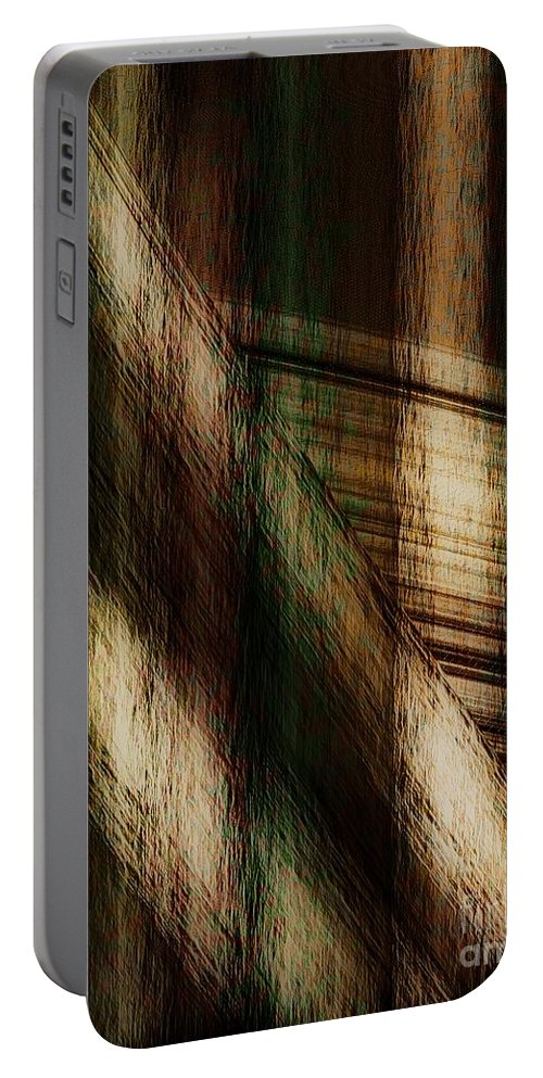Plaid Portable Battery Charger featuring the painting Splinter And Fray by RC DeWinter