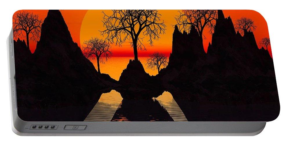 Trees Portable Battery Charger featuring the digital art Splintered Sunlight- by Robert Orinski