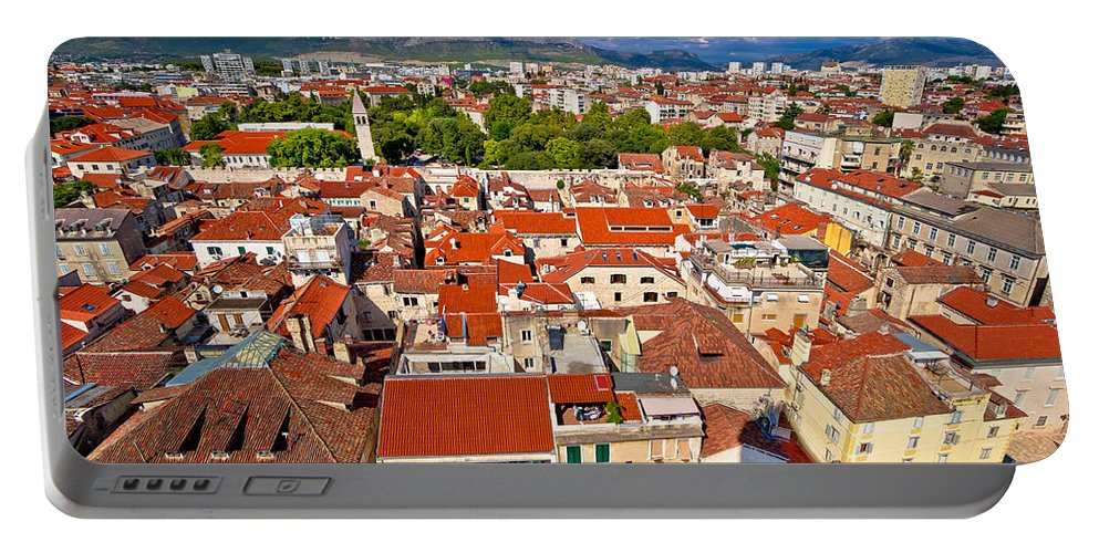 Split Portable Battery Charger featuring the photograph Split Old City Center Aerial View by Brch Photography
