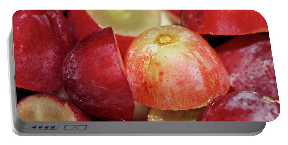 Grapes Portable Battery Charger featuring the photograph Split Red Grapes by Kristin Elmquist