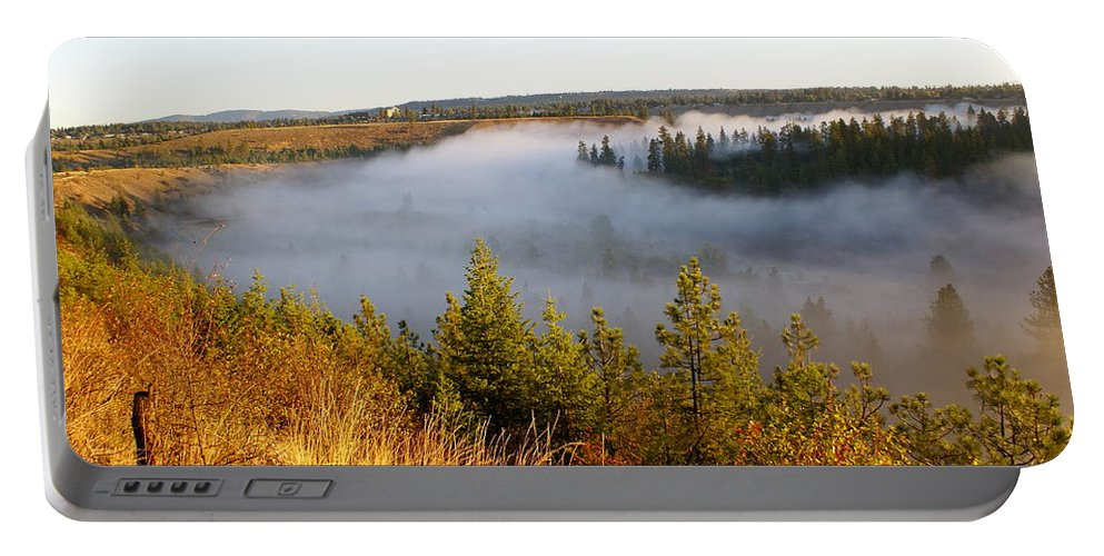 Spokane River Portable Battery Charger featuring the photograph Spokane River Under A Misty Morning Blanket by Ben Upham III