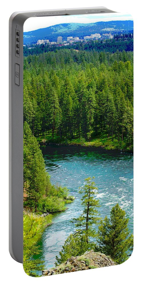 Spokane Portable Battery Charger featuring the photograph Spokane...the River And The City by Ben Upham III