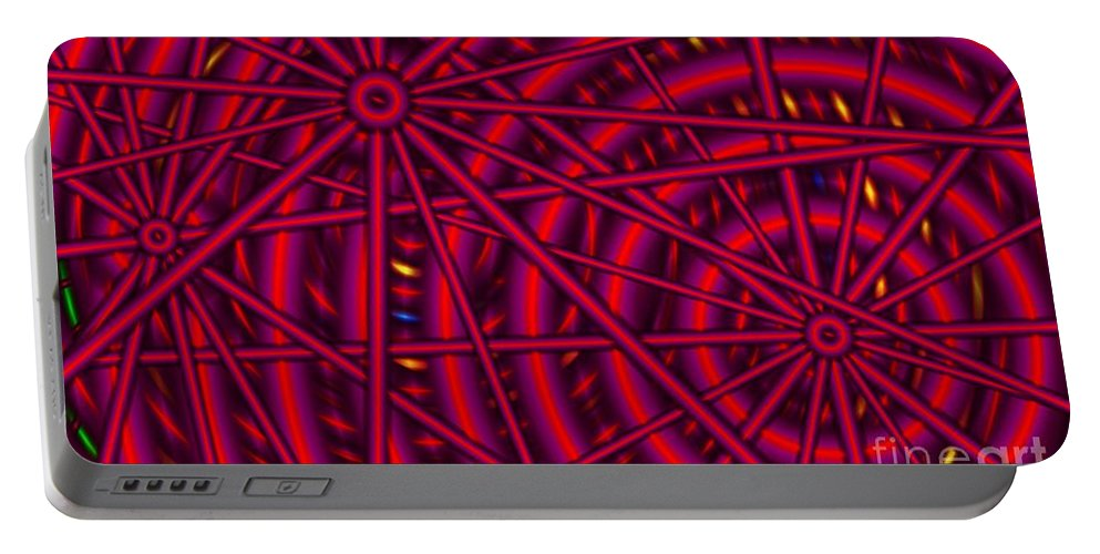 Abstract Portable Battery Charger featuring the digital art Spokes And Sprockets by Ron Bissett