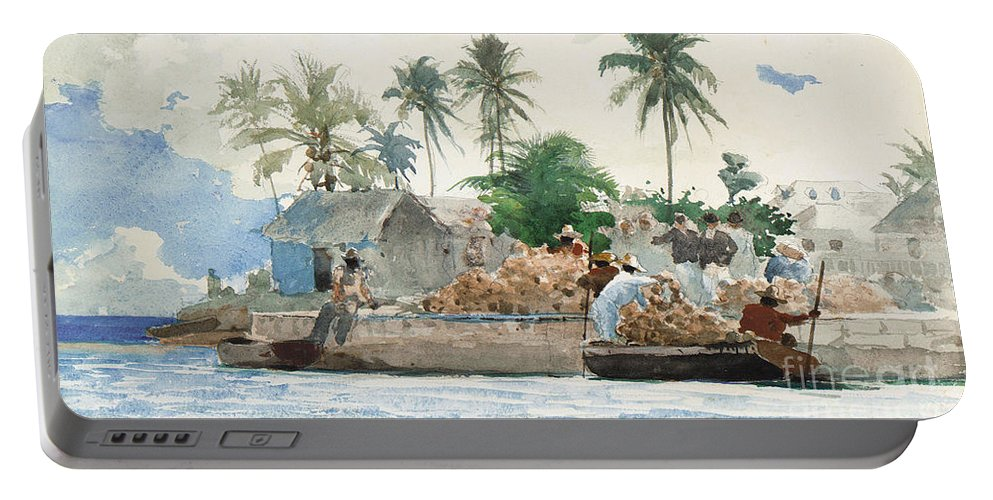 Boat Portable Battery Charger featuring the painting Sponge Fisherman In The Bahama by Winslow Homer
