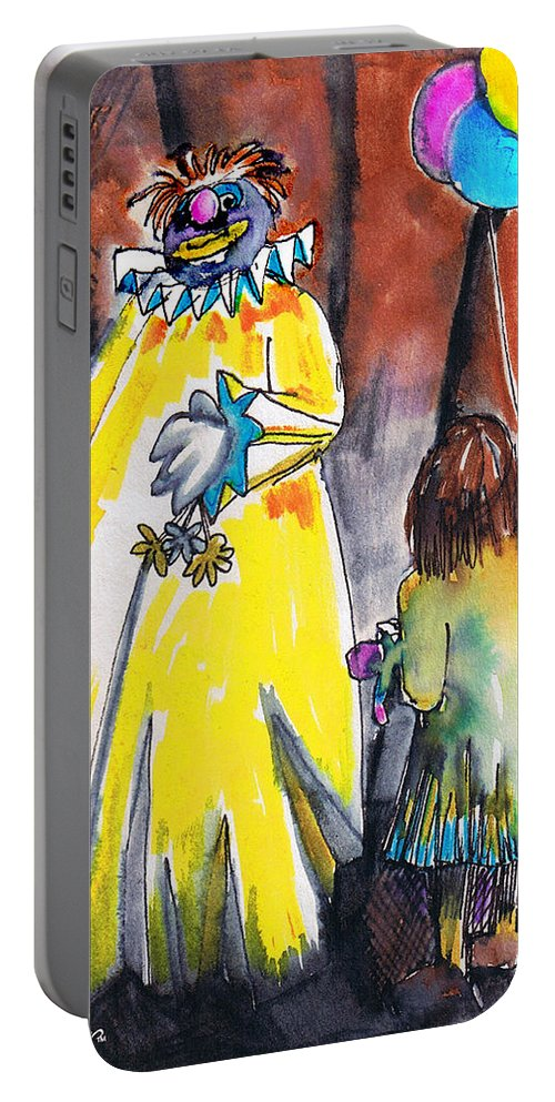 Watercolor Portable Battery Charger featuring the painting Spooky Old Clown by Seth Weaver
