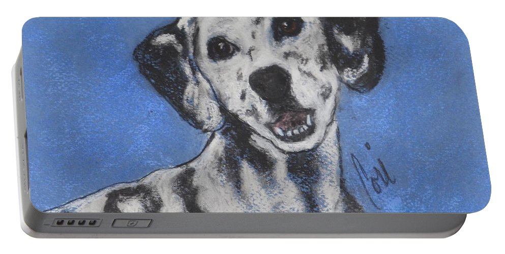 Dalmatian Portable Battery Charger featuring the drawing Spot On by Cori Solomon