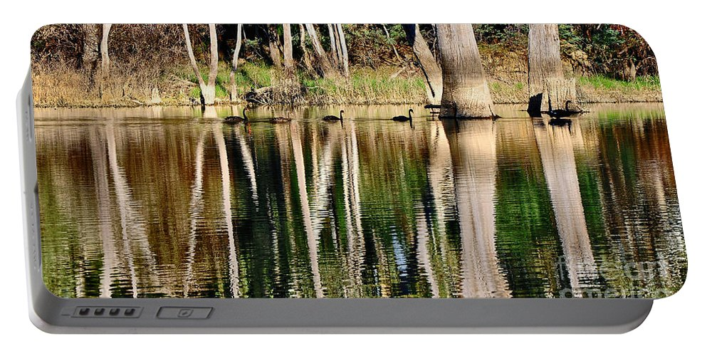 Photography Portable Battery Charger featuring the photograph Spot The Swan Family by Kaye Menner