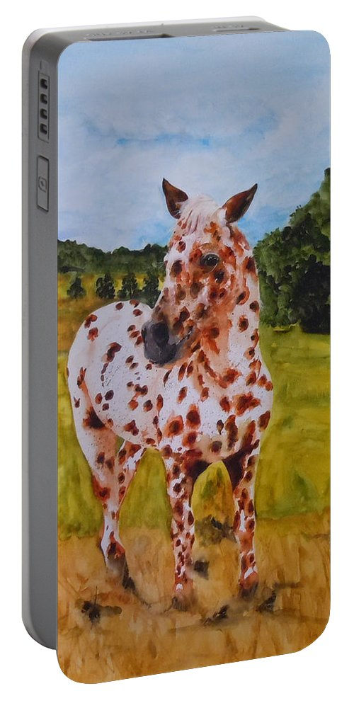 Horse Portable Battery Charger featuring the painting Spotted In Hawaii by Jean Blackmer
