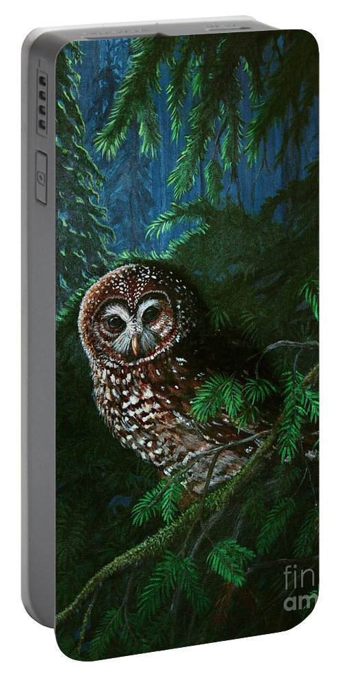 Owl Portable Battery Charger featuring the painting Spotted Owl In Ancient Forest by Nick Gustafson