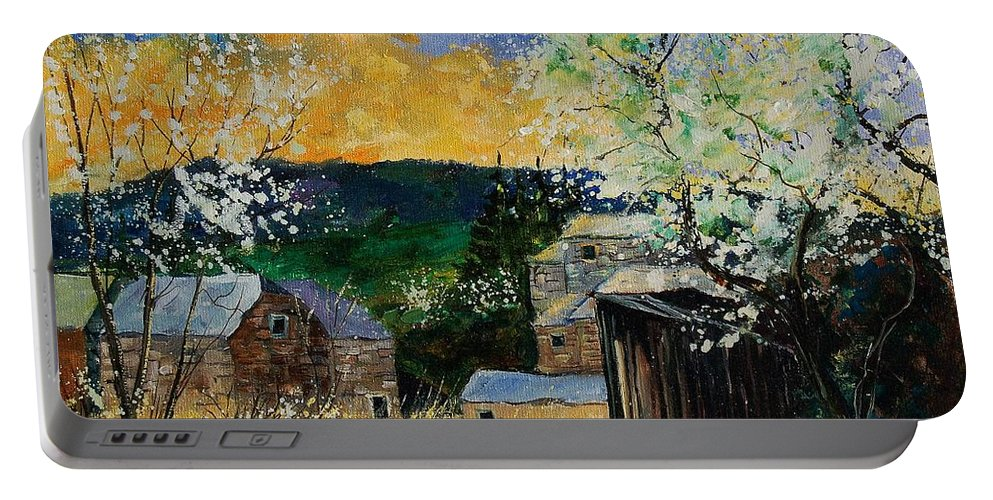 Spring Portable Battery Charger featuring the painting Spring 45 by Pol Ledent