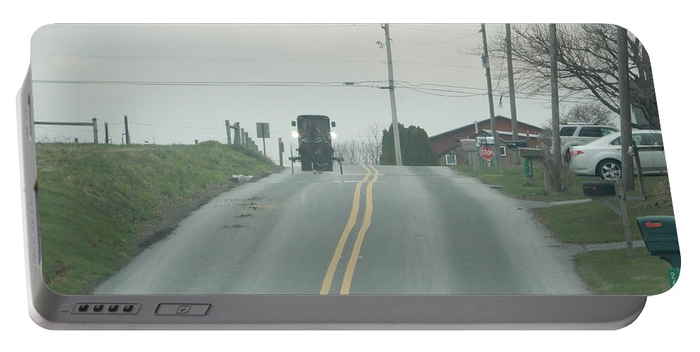 Amish Portable Battery Charger featuring the photograph Spring Afternoon Buggy Ride by Christine Clark