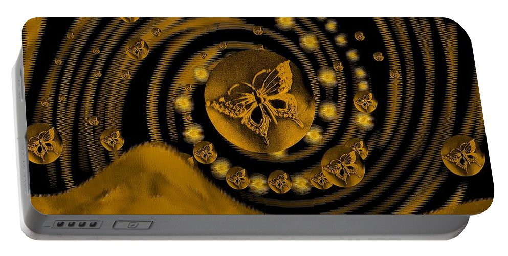 Spring Portable Battery Charger featuring the digital art Spring Arrives In Golden Global Style by Pepita Selles