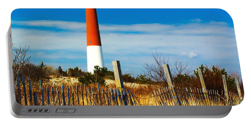 Barnegat Lighthouse Fence Ocean Landmark Jersey Portable Battery Charger featuring the photograph Spring At Barnegat by Nick Zelinsky