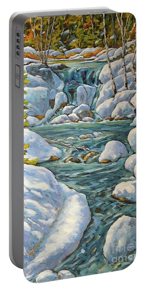Spring Landscape Wall Decor Portable Battery Charger featuring the painting Spring At Last By Richard Pranke by Richard T Pranke