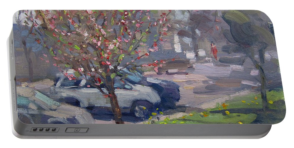 Spring Portable Battery Charger featuring the painting Spring At Main St North Tonawanda by Ylli Haruni