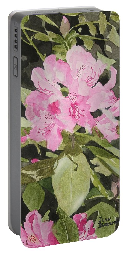 Flowers Portable Battery Charger featuring the painting Spring At The Cabin by Jean Blackmer