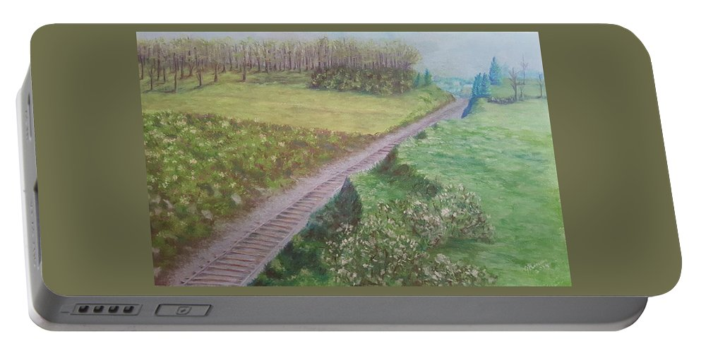 Pastel Portable Battery Charger featuring the pastel Spring At The Railroad Cut Gettysburg by Joann Renner