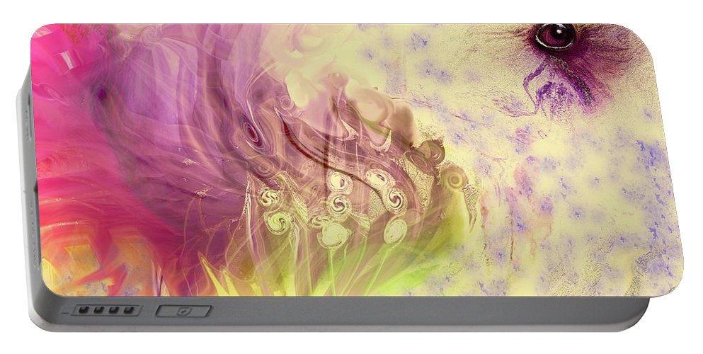 Spring Art Portable Battery Charger featuring the digital art Spring Awaits by Linda Sannuti