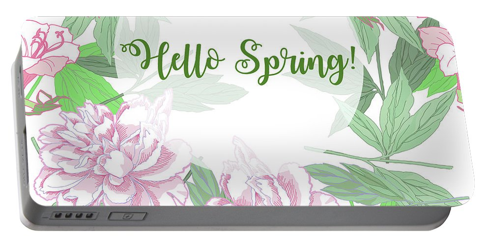 Tulip Portable Battery Charger featuring the digital art Spring Background With Pink Peonies And Flowers. by Natalia Piacheva