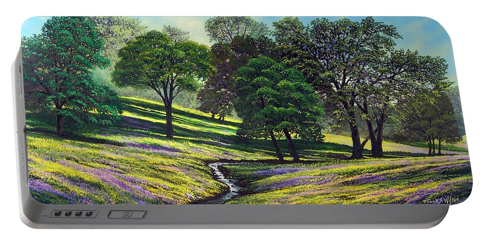 Landscape Portable Battery Charger featuring the painting Spring Bloom Table Mountain by Frank Wilson