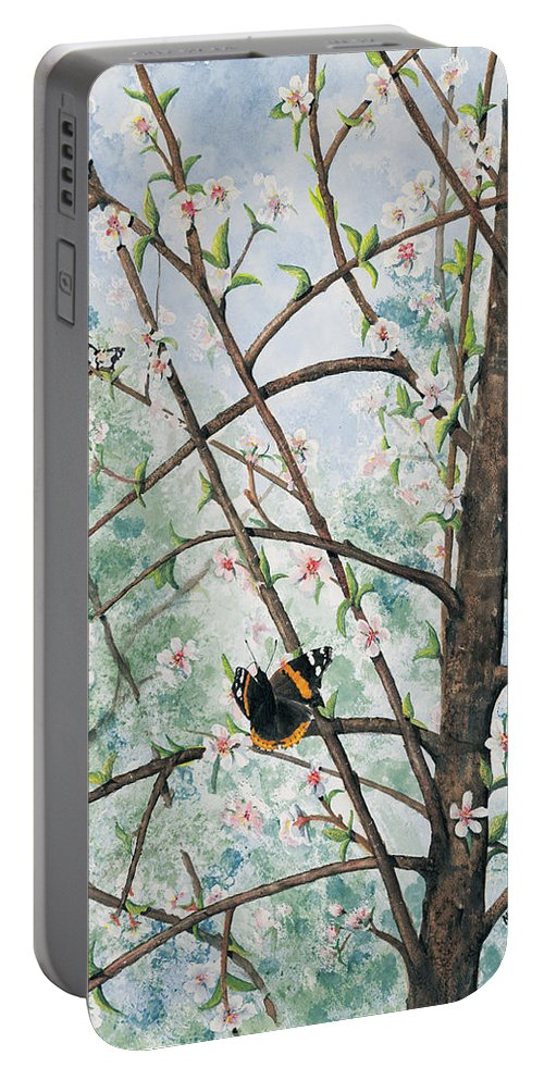 Butterfly Portable Battery Charger featuring the painting Spring Blossom by Mary Tuomi