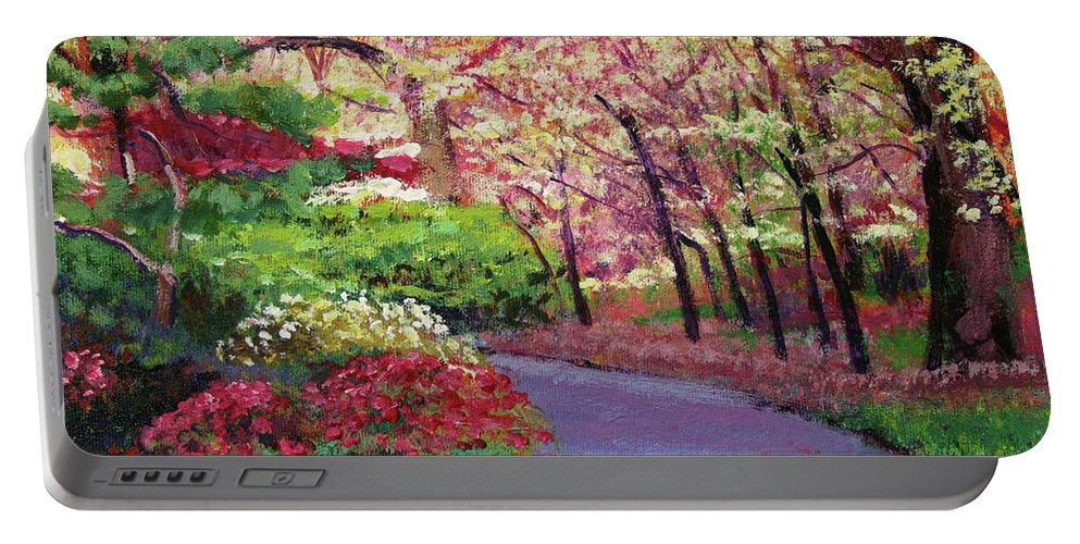 Pathways Portable Battery Charger featuring the painting Spring Blossoms Impressions by David Lloyd Glover