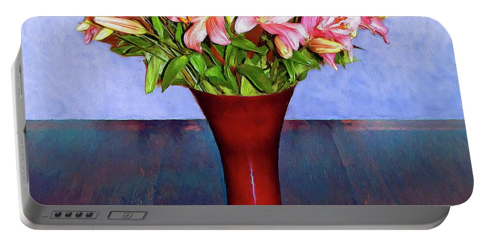 Flowers Portable Battery Charger featuring the mixed media Spring Bouquet by Dominic Piperata